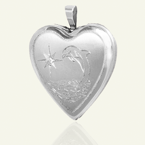 Dolphin Diamond Locket - The Locket Tree