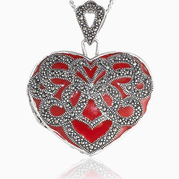 Product title: XL Red Marcasite Locket, product type: Locket