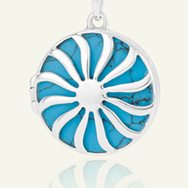 Product title: Large Turquoise Sun Locket 27 mm, product type: Locket