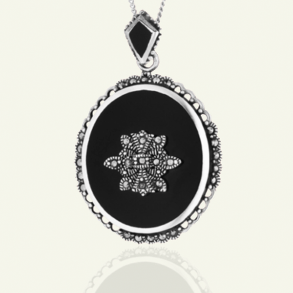 Product title: Extra Large Onyx Locket 32 mm, product type: Locket