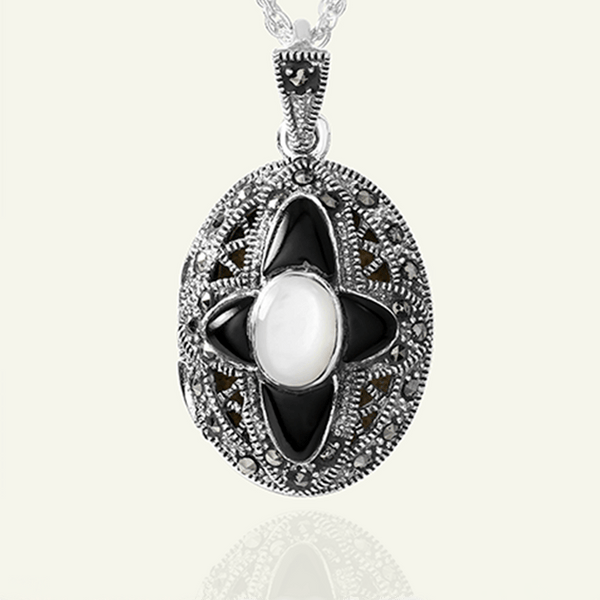 Mother-of-Pearl and Onyx Cross Locket - The Locket Tree