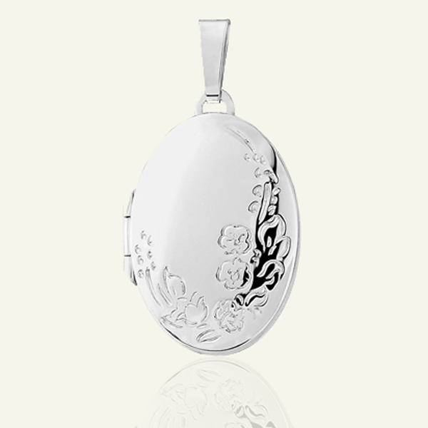 White Gold Floral Oval Locket - The Locket Tree