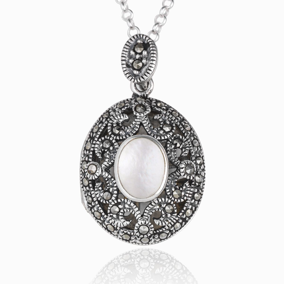 Marcasite and Mother of Pearl Locket