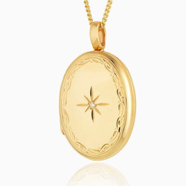 Product title: Handmade 9 ct Gold Diamond Locket, product type: Locket