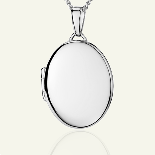 Classic White Gold Oval Locket 21 mm - The Locket Tree