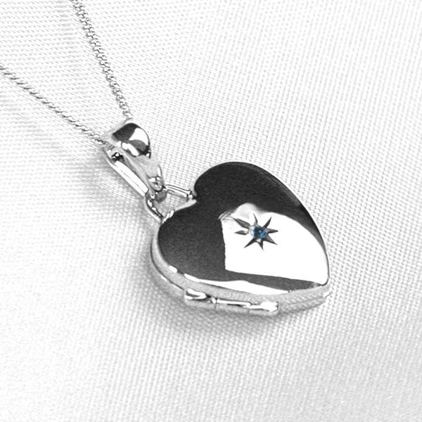 Product title: Petite White Gold and Sapphire Locket, product type: Locket