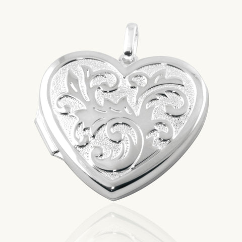 Large Acanthus Design Heart Locket - The Locket Tree