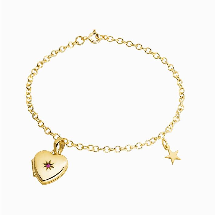 Product title: Gold Locket Charm Bracelet, product type: Charm