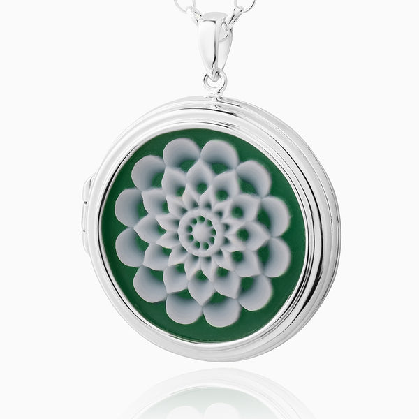 Green Cameo Flower Locket