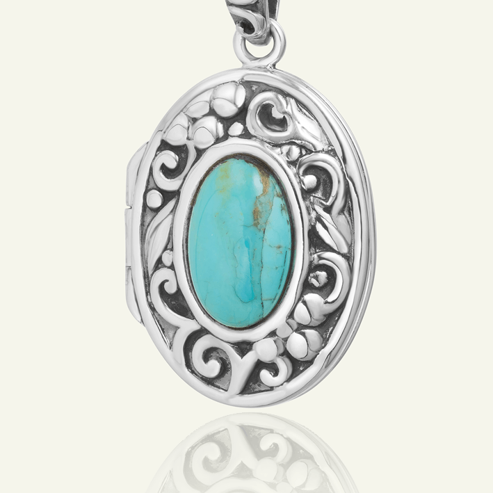 Turquoise and Silver Oval Locket - The Locket Tree