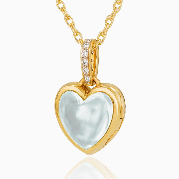 Product title: Diamond Pavé and Aquamarine Keepsake Locket, product type: Locket