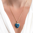 Product title: Blue Guilloche Heart Locket 22 mm, product type: Locket