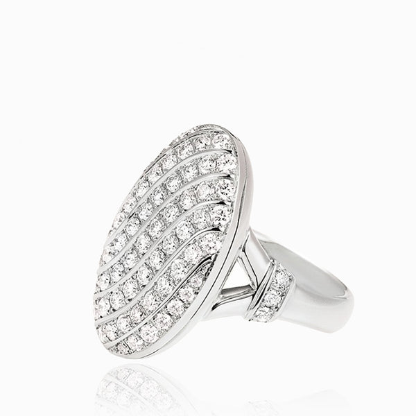 Product title: 18 ct White Gold Diamond Pavé Locket Ring, product type: Ring