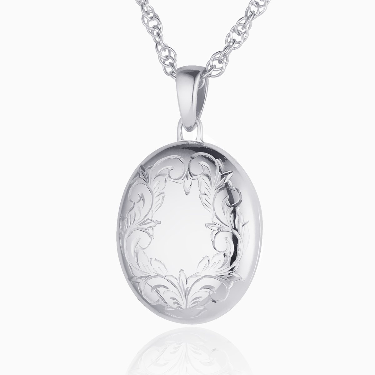 Product title: Hand Engraved White Gold Oval Border Locket, product type: Locket