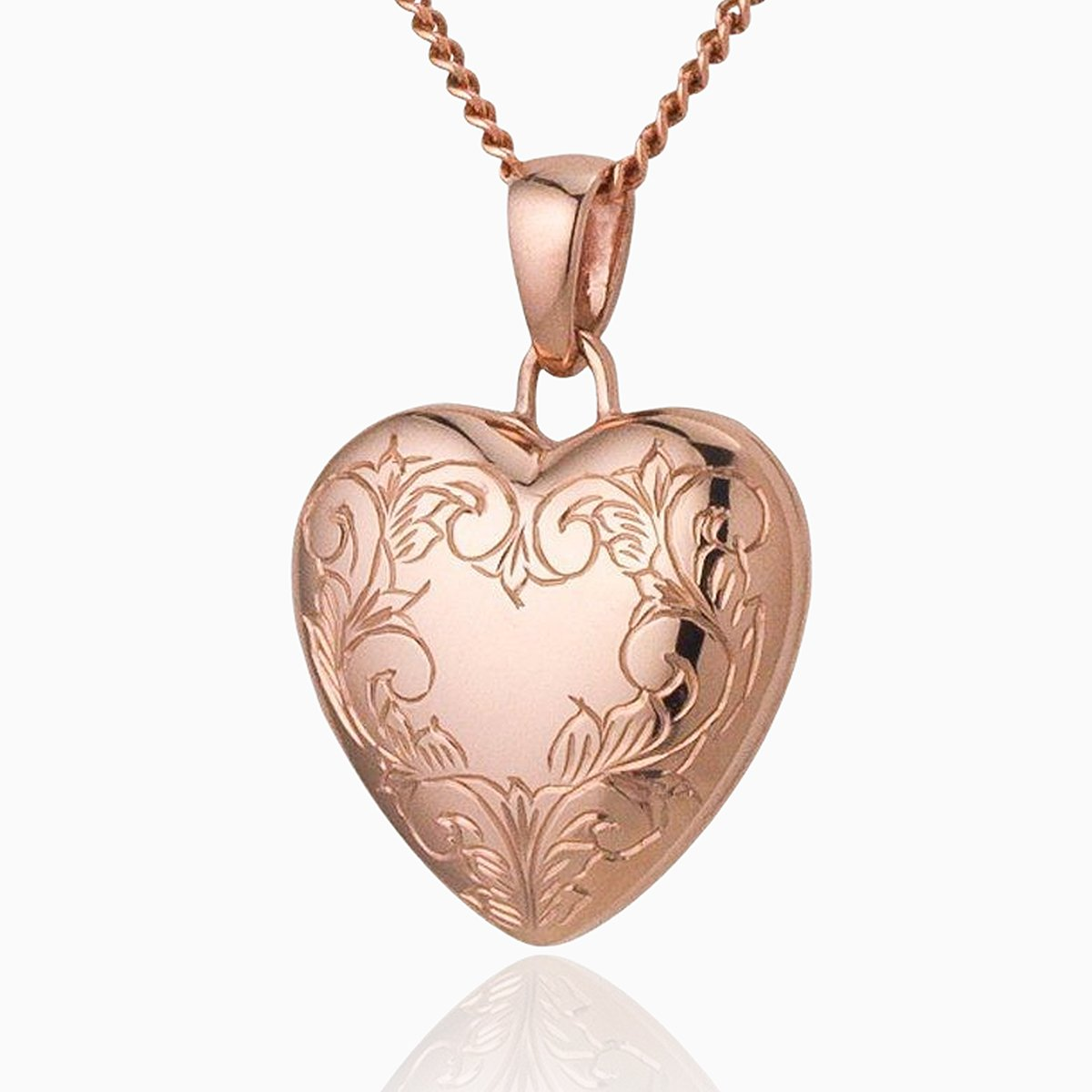 Product title: Rose Gold Engraved Heart Locket, product type: Locket