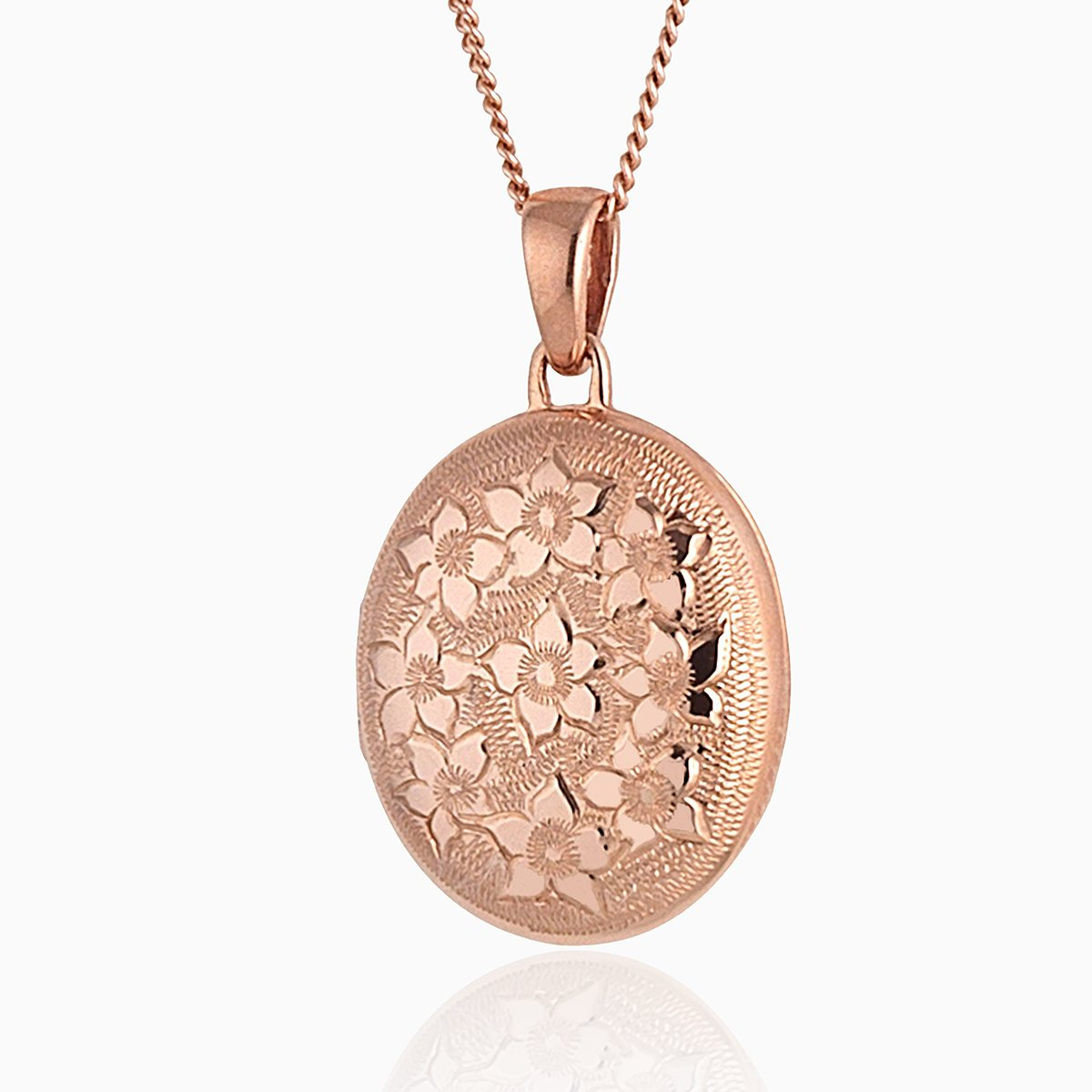 Product title: Rose Gold Floral Oval Locket, product type: Locket