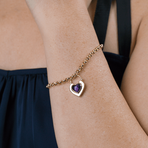 Amethyst Padlock Locket Bracelet - The Locket Tree