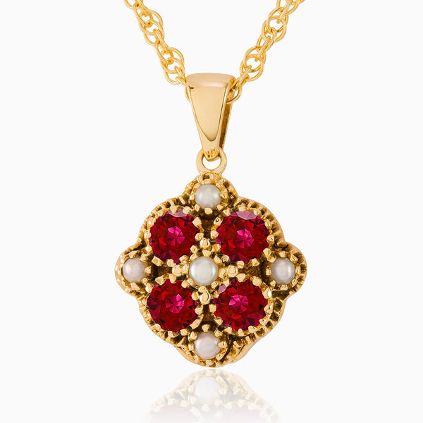 Product title: Pearl and Garnet Jewelled Locket, product type: Locket