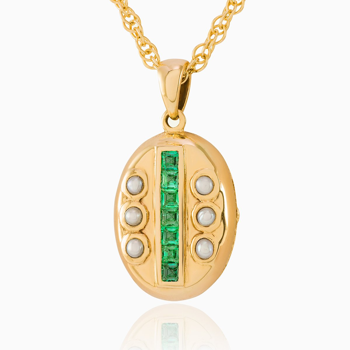 Product title: Dainty Victorian Emerald and Pearl Keepsake Locket, product type: Locket