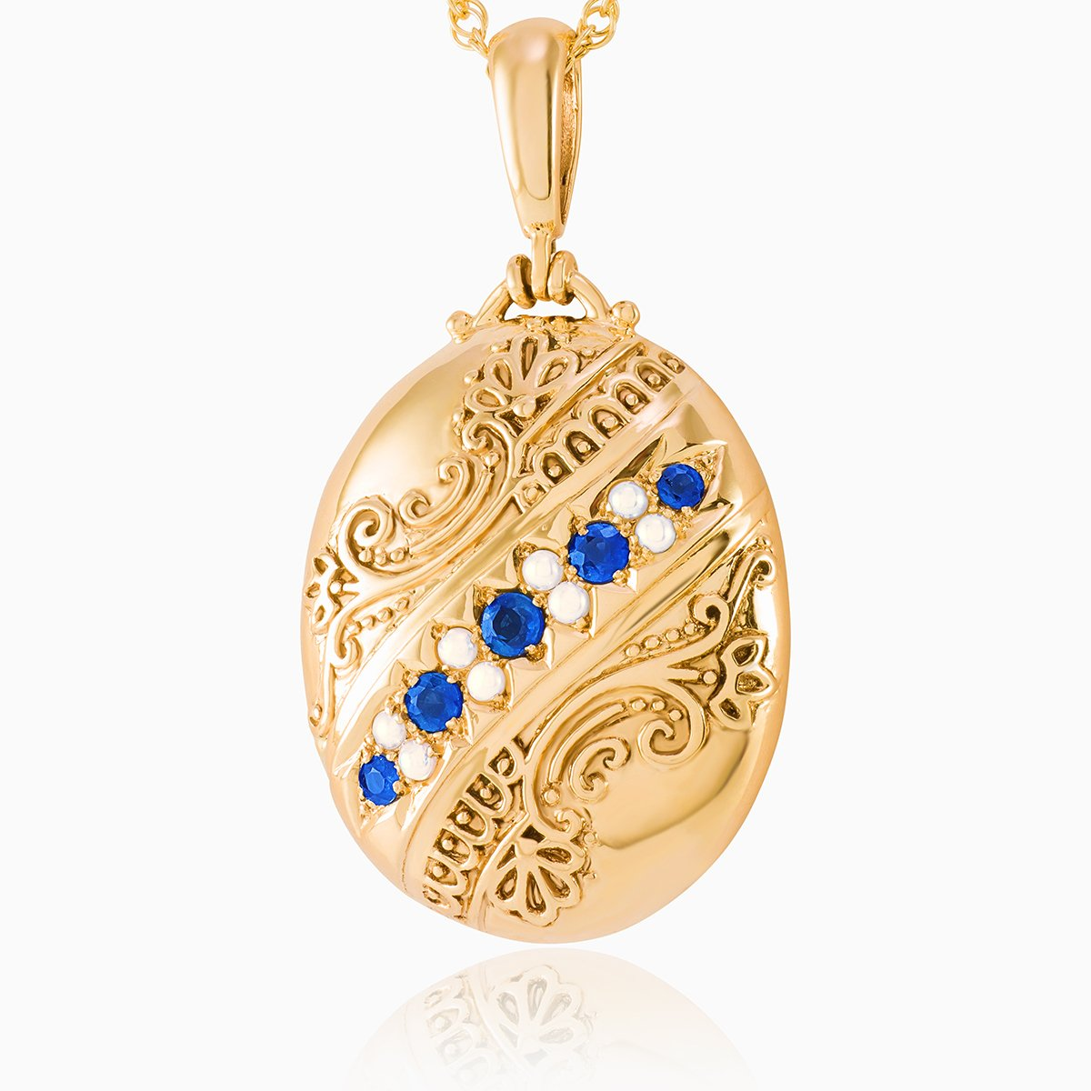 Product title: Large Sapphire Victorian Style Locket, product type: Locket