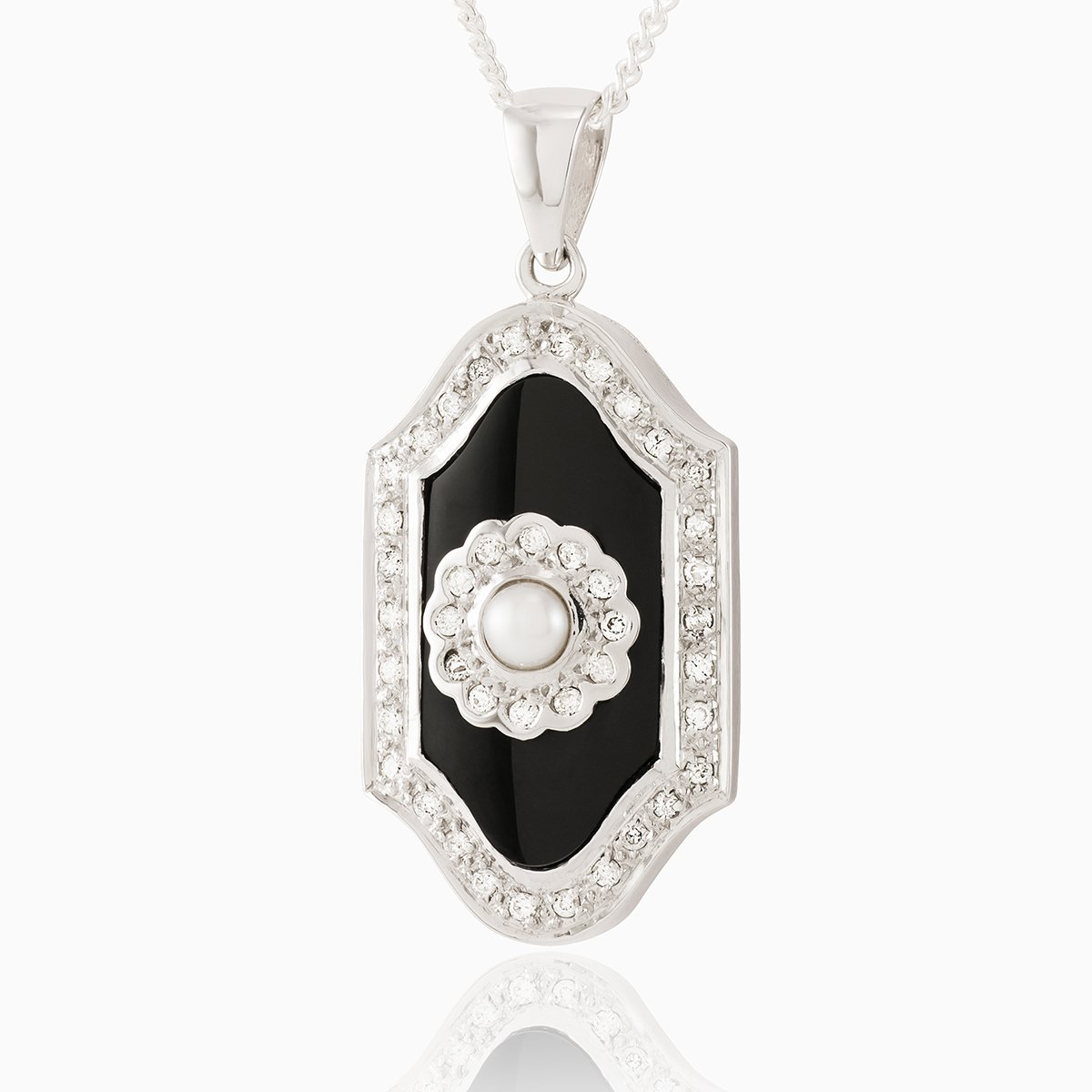Product title: Diamond, Onyx and Pearl White Gold Locket, product type: Locket