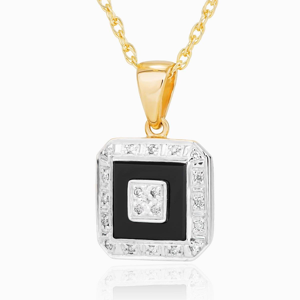 Product title: Diamond and Onyx Gold Locket, product type: Locket