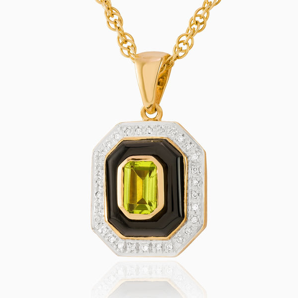 Product title: Onyx and Peridot Art Deco Locket, product type: Locket