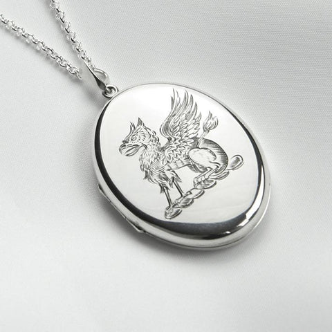 Hand Engraved Gryphon Locket - The Locket Tree