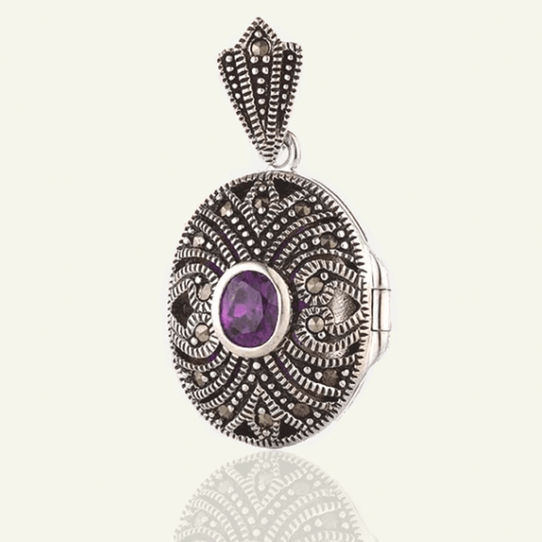 Marcasite and Purple Cubic Zirconia Locket - The Locket Tree