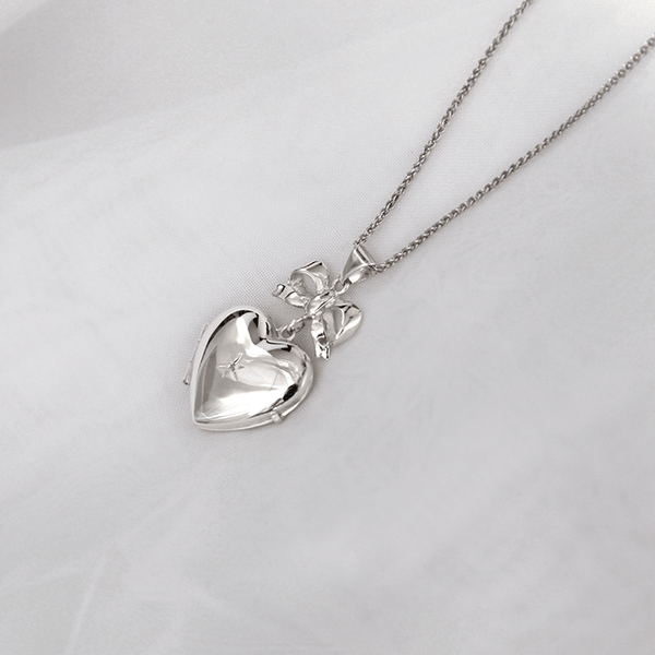 Silver Bow Locket - The Locket Tree