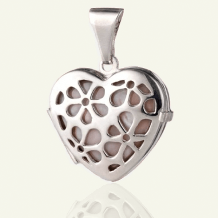 Mother-Of-Pearl Silver Petal Locket