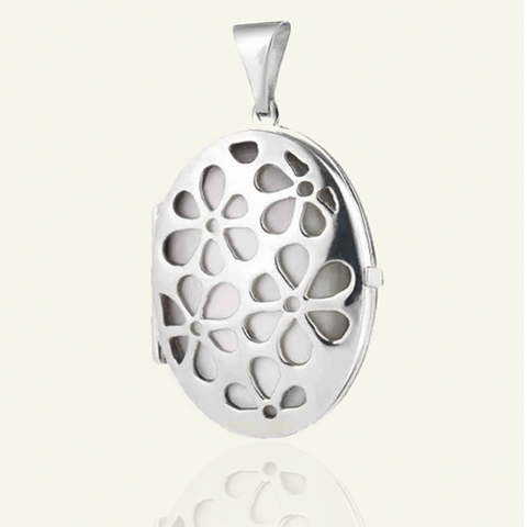 Mother-of-Pearl Oval Petal Locket - The Locket Tree