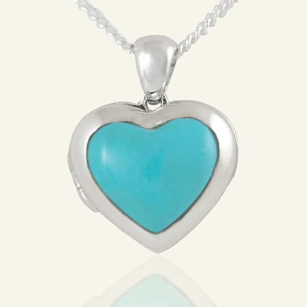 Petite Turquoise Silver Locket - The Locket Tree