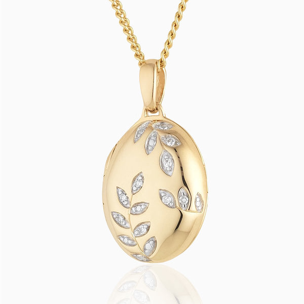 Product title: Diamond Leaves Gold Locket, product type: Locket