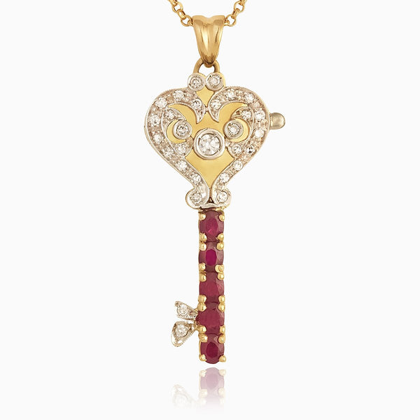 Product title: Ruby and Diamond Key Locket, product type: Locket