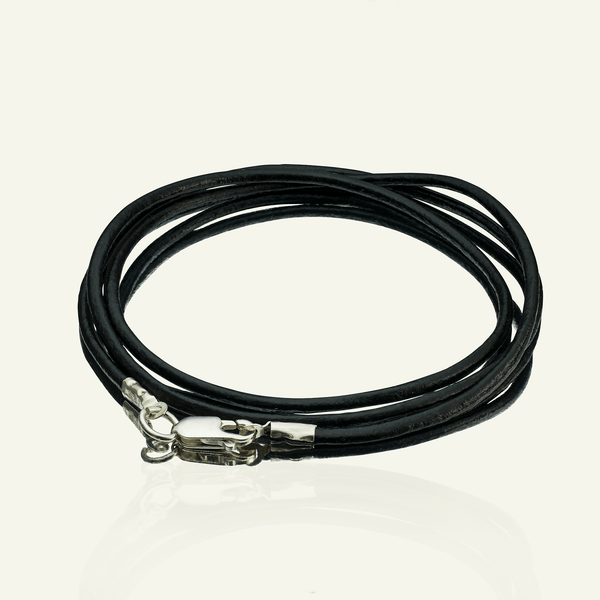 Product title: Mens' Black Leather Neck Cord, product type: Chain