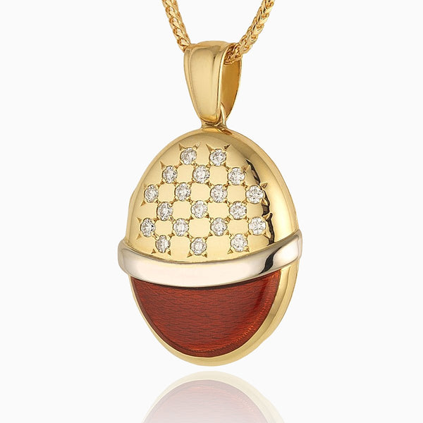 Product title: 18 ct Diamond Red Enamel Locket, product type: Locket