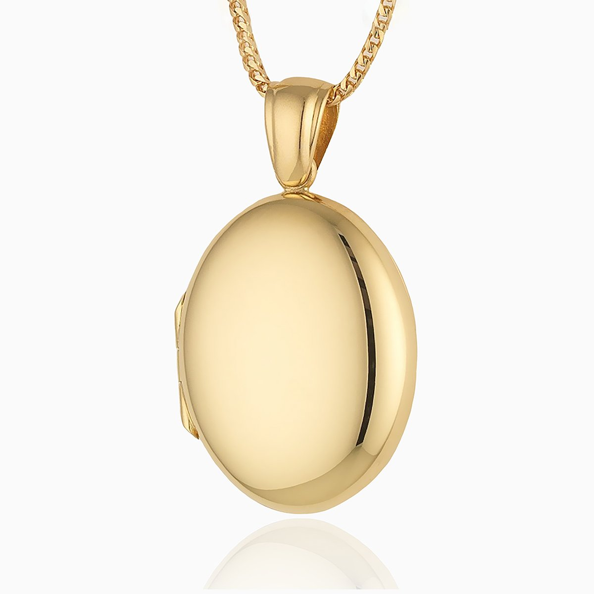 Product title: 18 ct Plain Polished Oval Locket, product type: Locket
