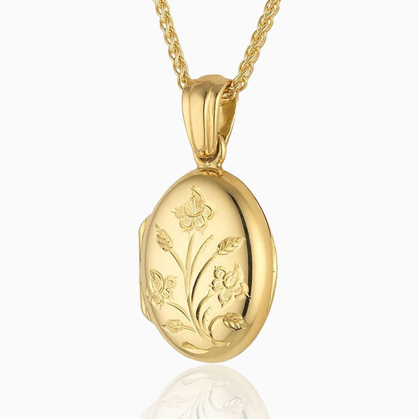 Product title: 18 ct Gold Petite Floral Locket, product type: Locket