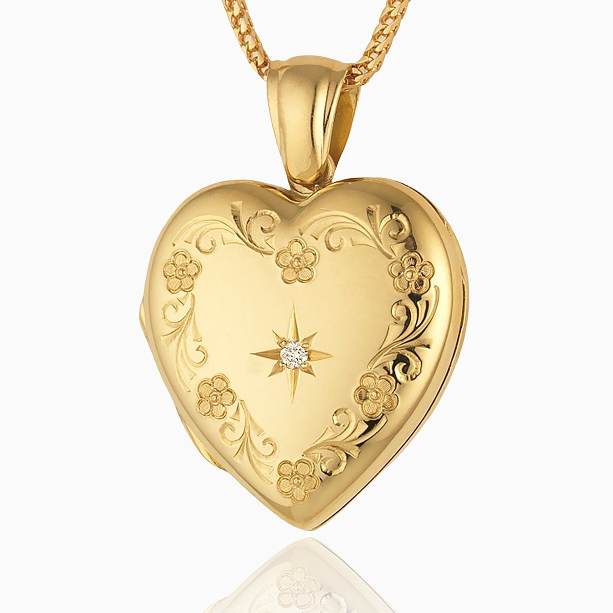 Product title: Classic Floral Diamond Locket 22 mm, product type: Locket