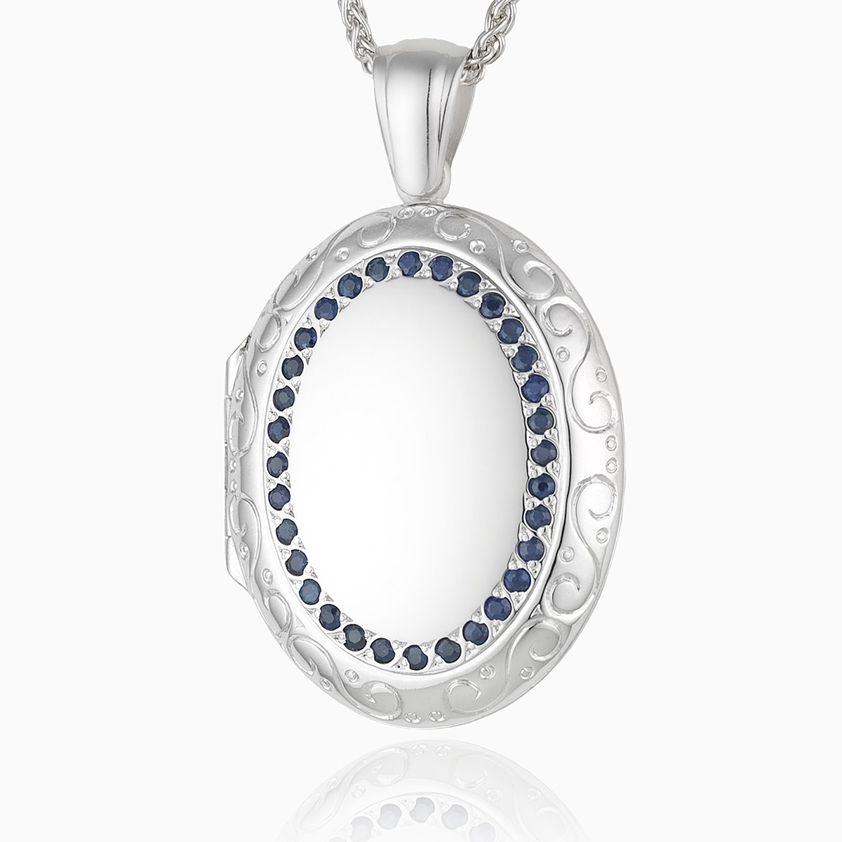 Product title: 18 ct White Gold Sapphire Family Locket, product type: Locket