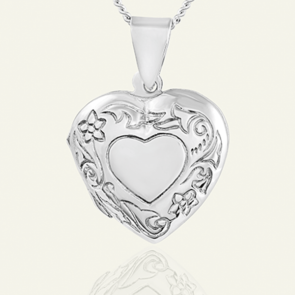Product title: Petite Floral Heart Locket 18 mm, product type: Locket