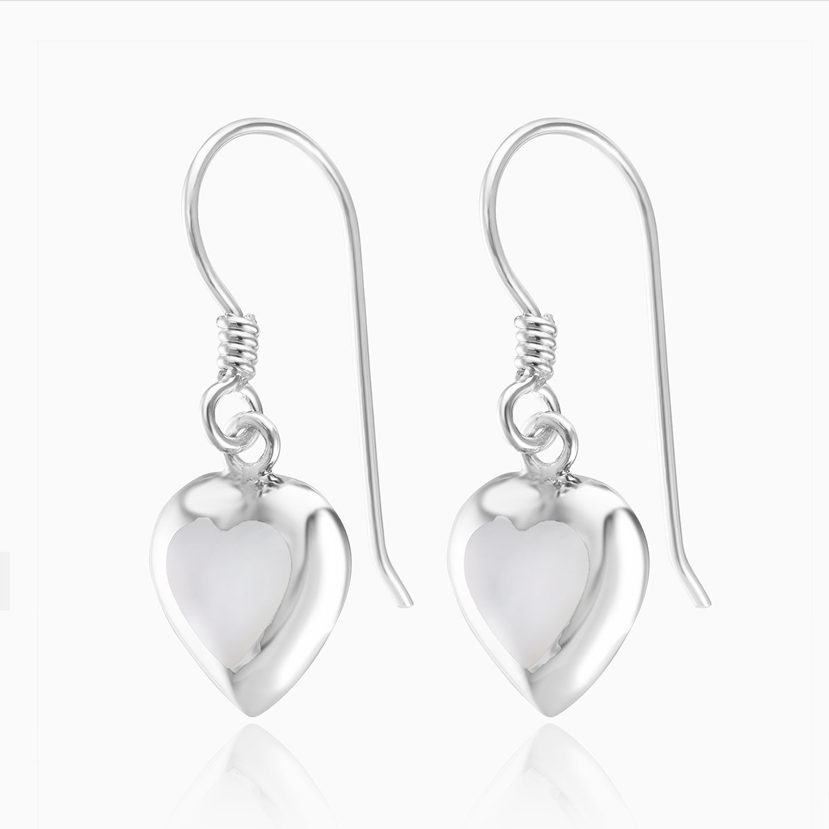 Product title: Mother of Pearl Drop Heart Earrings, product type: Earring