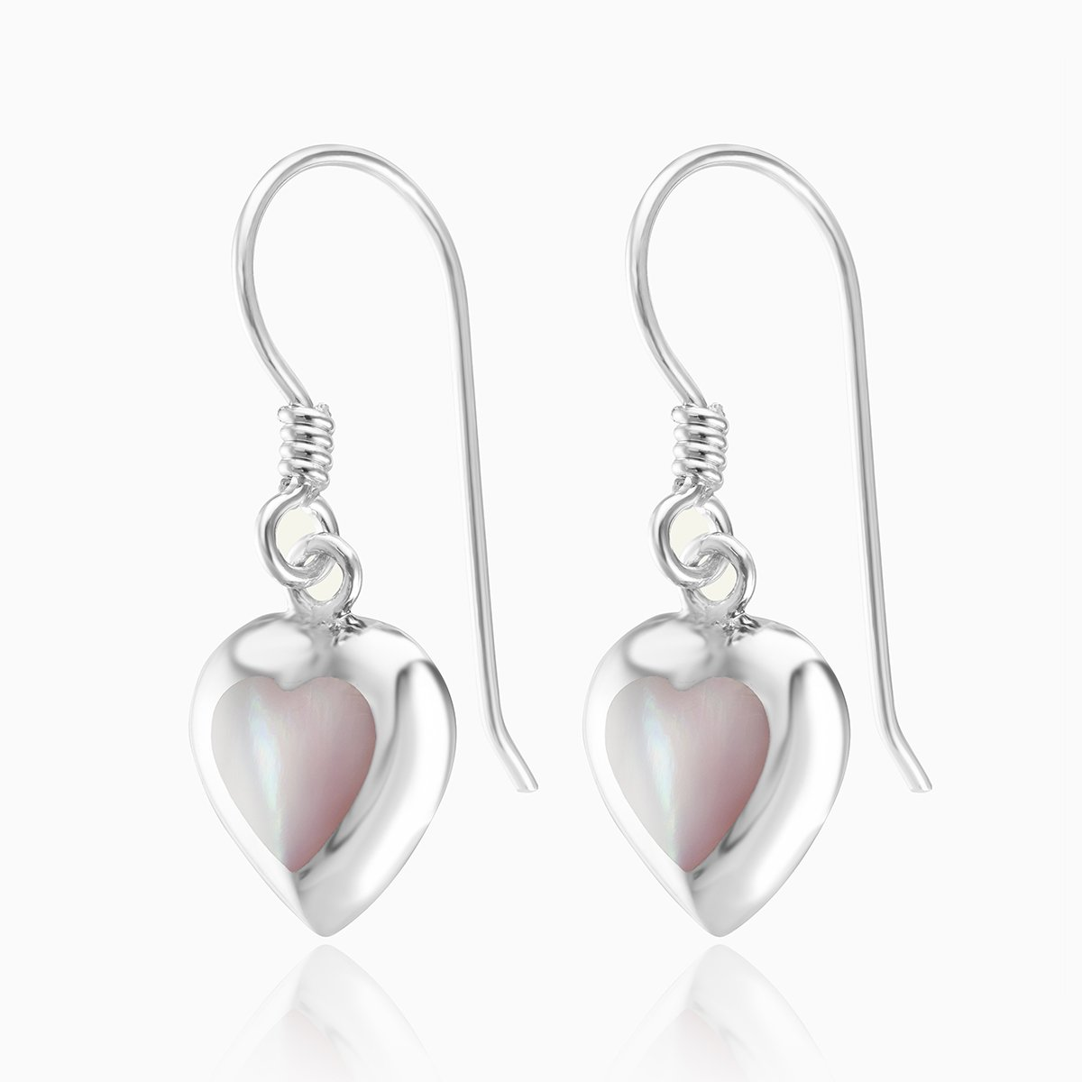 Product title: Pink Mother of Pearl Drop Heart Earrings, product type: Earrings