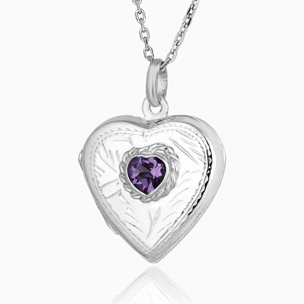Product title: Amethyst Engraved Heart Locket, product type: Locket