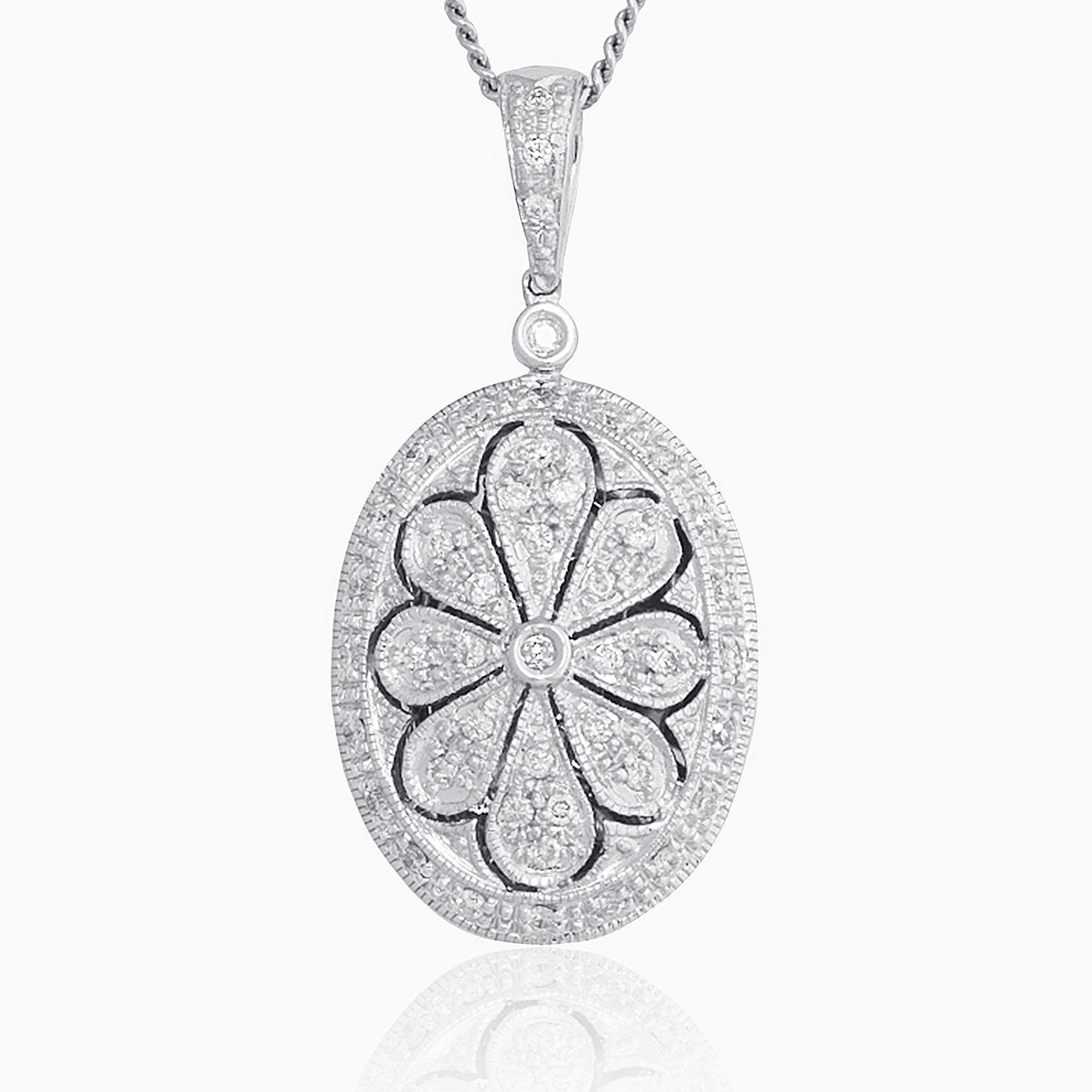 Product title: Pavé Set Diamond White Gold Oval Locket, product type: Locket