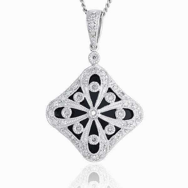 Product title: Diamond and Onyx White Gold Locket, product type: Locket