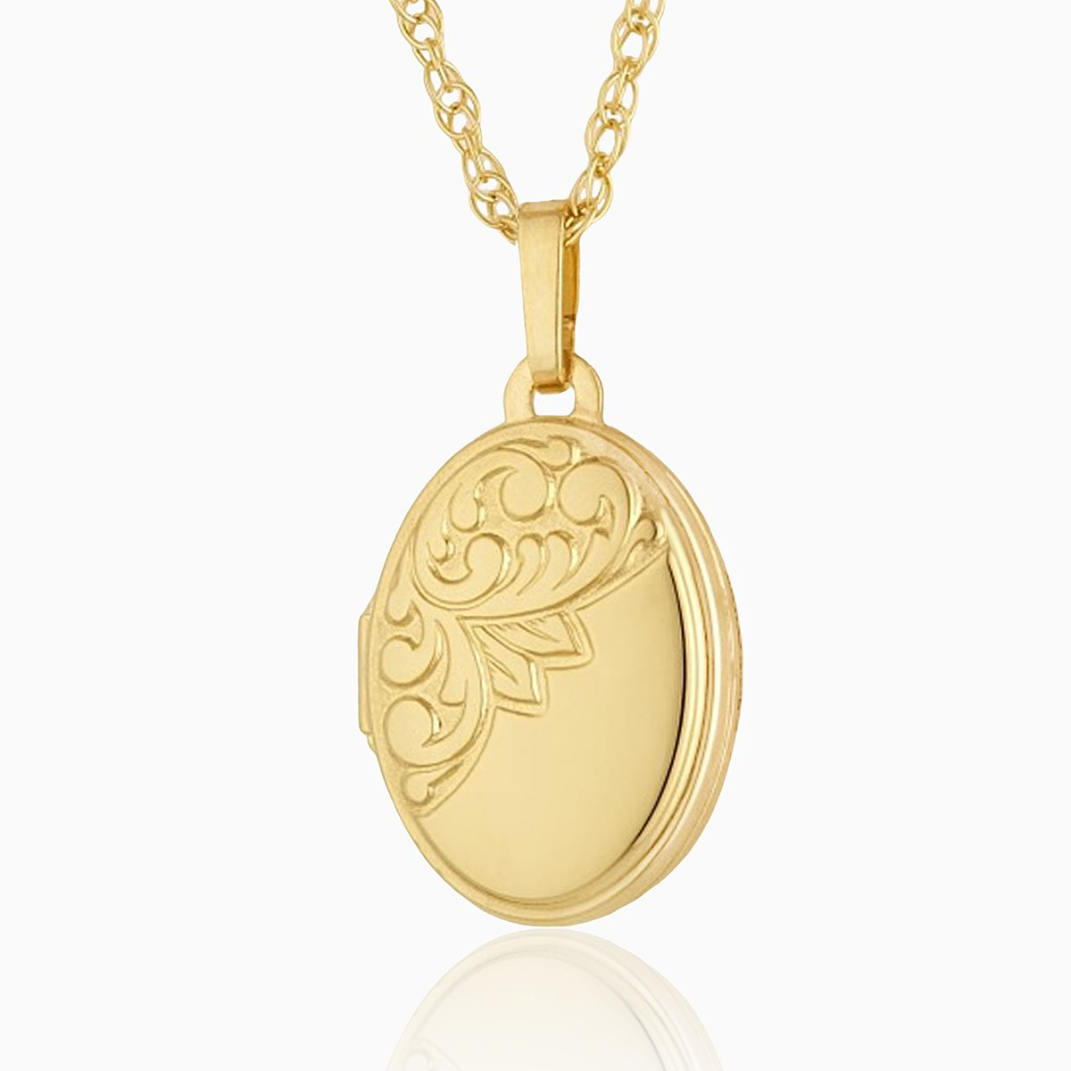 Product title: Petite Oval Leafy Locket, product type: Locket