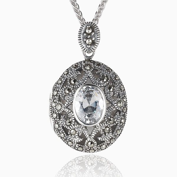 Product title: Marcasite and Cubic Zirconia Locket, product type: Locket