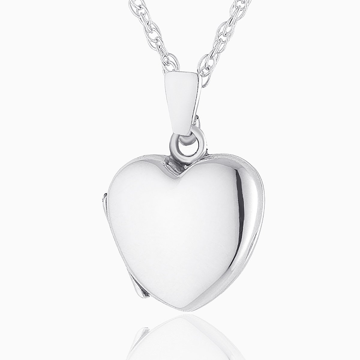 Product title: Hand Polished White Gold Petite Heart, product type: Locket